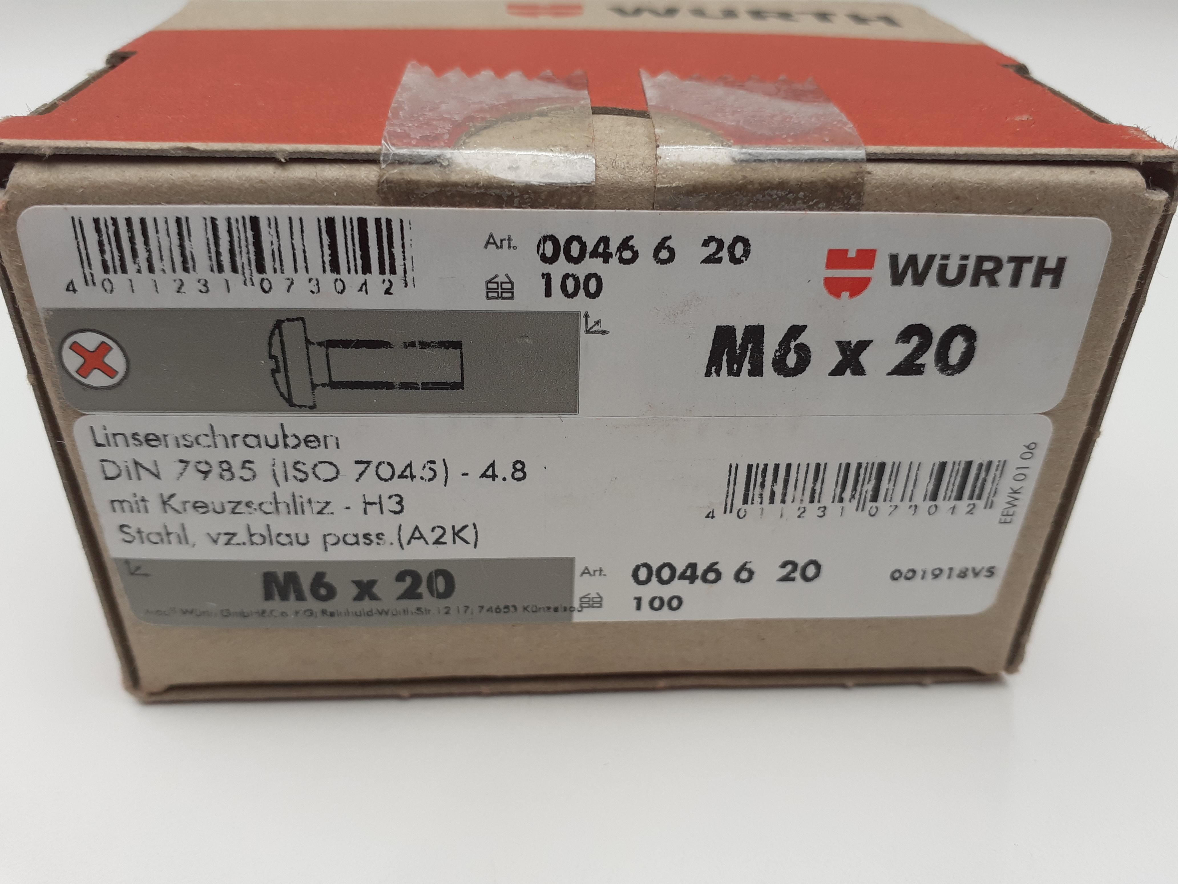 Halbrundkopfschraube Kreuzschlitz M6x20mm