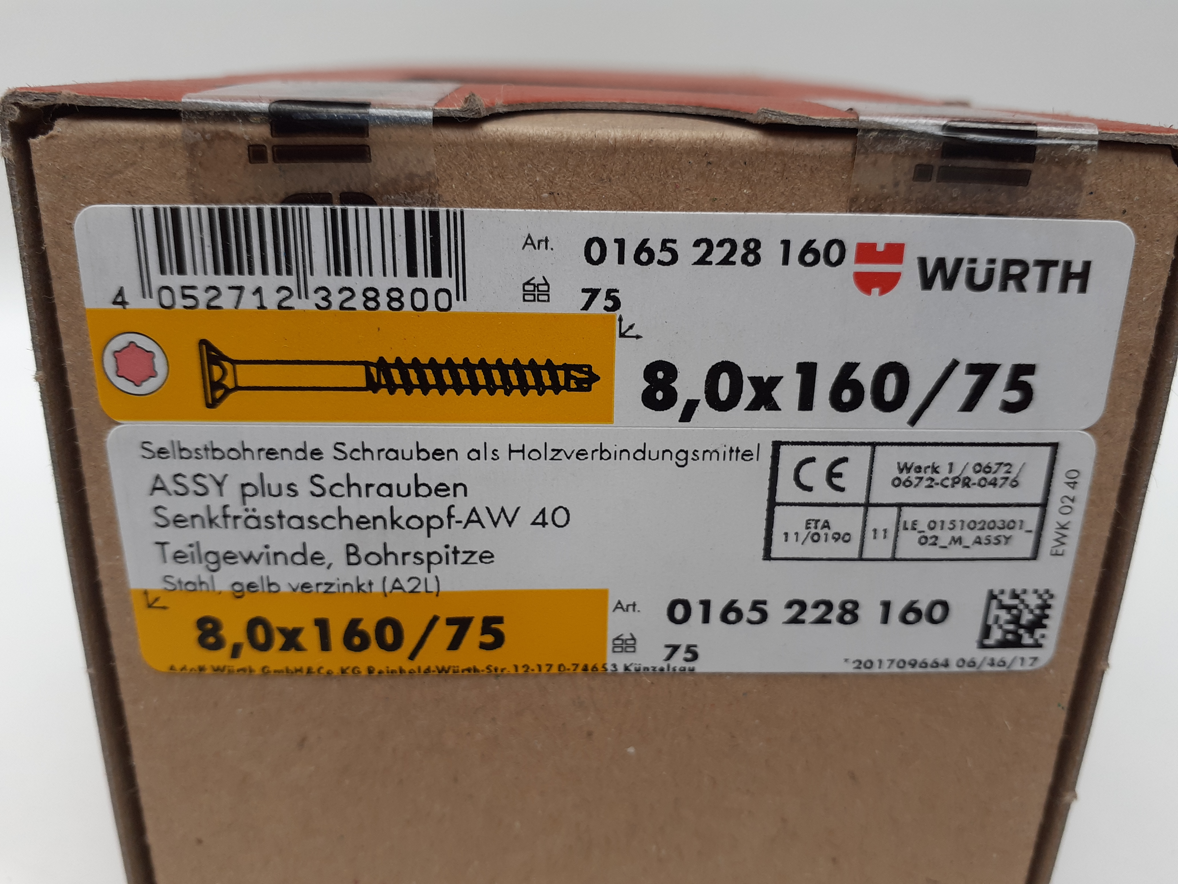 ASSY plus Schrauben selbstbohrend 8x160/75